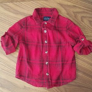 LUCKY BRAND roll tab flannel plaid button shirt